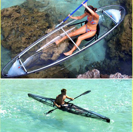 Clear sailing cleverly transparent canoes kayaks urbanist for Fishing kayak mods