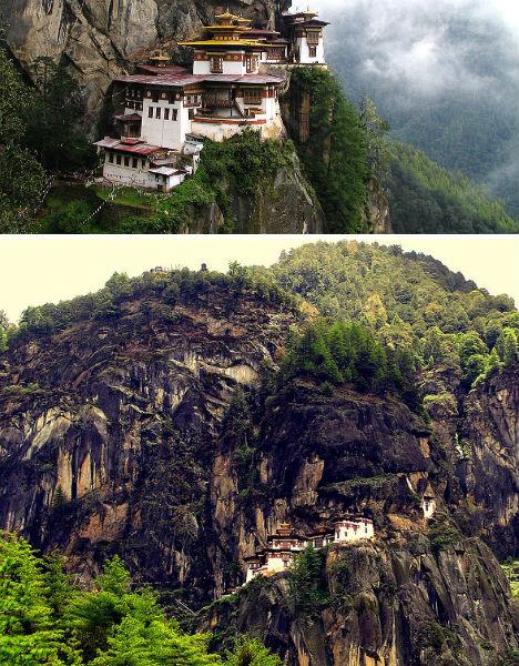 Cliffside Mountain Monasteries Taktshang Bhutan