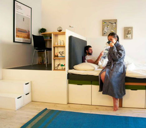 Prototype to reality super space saving bedroom set urbanist - Space saving ideas for small apartment plan ...