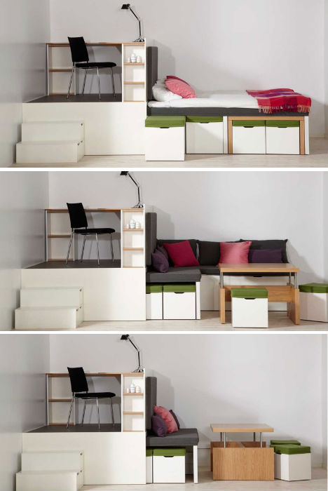 All In One Room prototype to reality: super space-saving bedroom set | urbanist