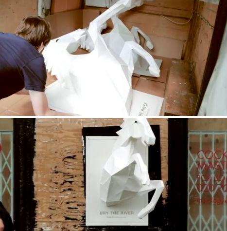 Wild Horses 3D Paper Sculpture 3