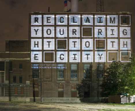 Your Text Here Projection Bombing Urban Art