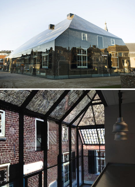 glass brick farmhouse illusion