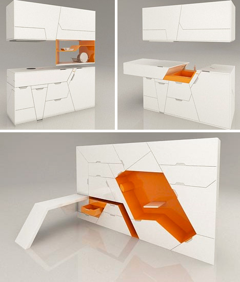 Mini Kitchen Room Box: 5 Room-in-a-Box Designs Form 100% Modular Home Interior