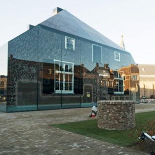 Brick Farmhouse Facade Illusion Via Photo Printed Glass