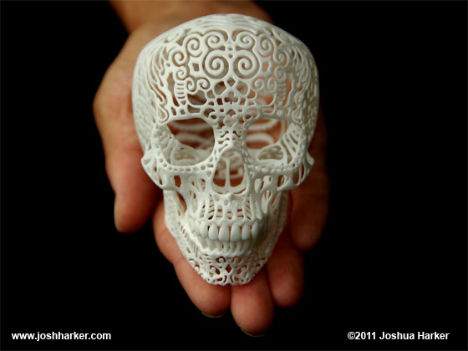 3D Printed Filigree Skull 1