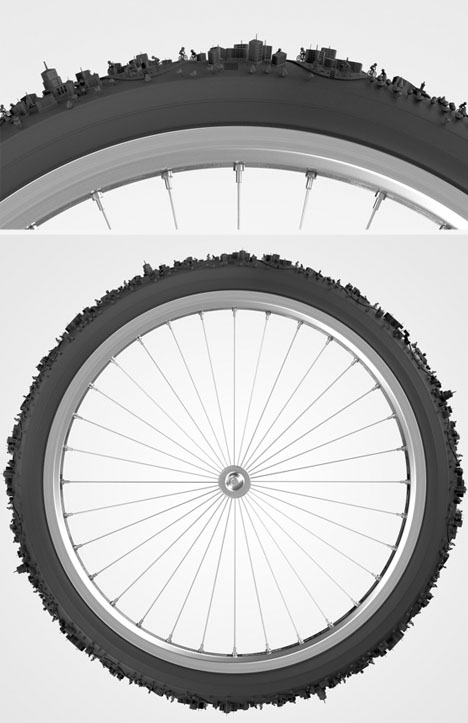 bike tire cityscape concept
