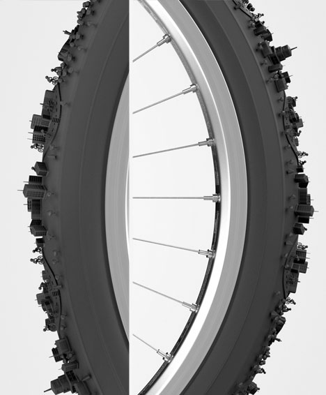 City cycle curved urban tread wraps round bike tire for Bike tire art