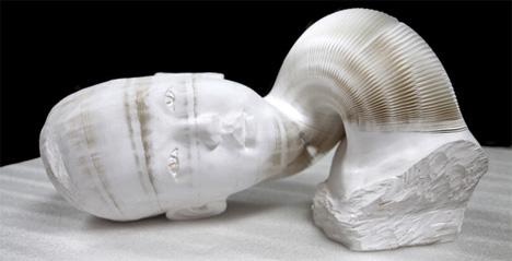 girl ii paper accordion-like sculpture