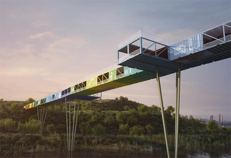 recycled shipping container bridge israel