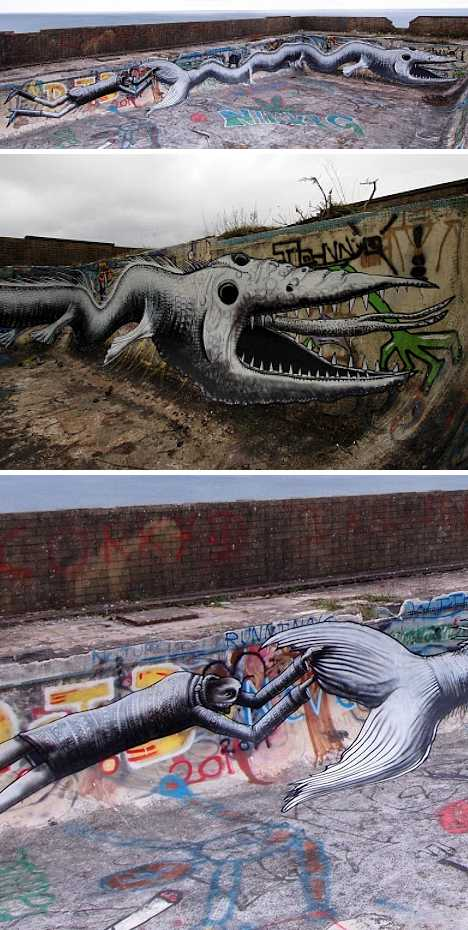 Isle of Man abandoned swimming pool Phlegm graffiti
