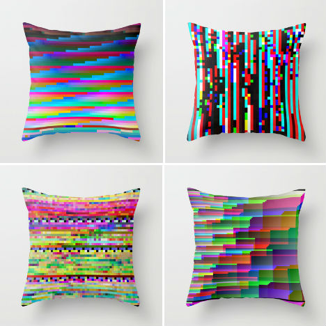Glitch Art Pillow Covers Berg