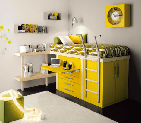 Colorful Cozy Striking Series of Lofted Kids Bedroom Sets