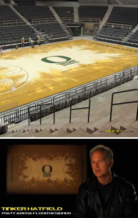 University Oregon Ducks pine basketball court