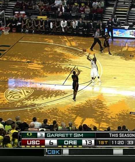 University Oregon pine basketball court