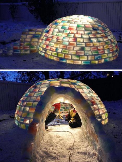 colorful igloo night entrance