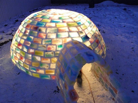 colorful rainbow ice igloo