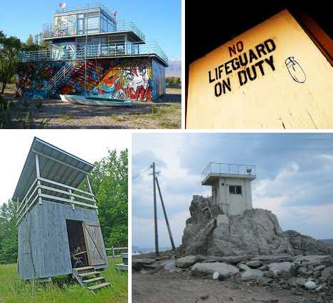 abandoned lifeguard towers