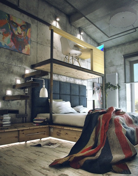 loft industrial bedroom study