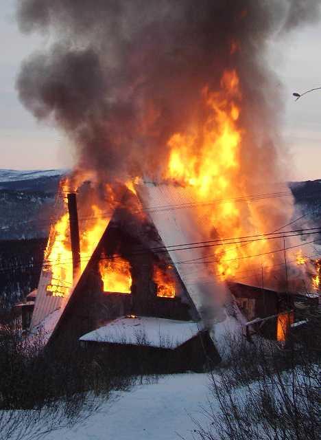 Cleary Summit Alaska abandoned ski lodge burning