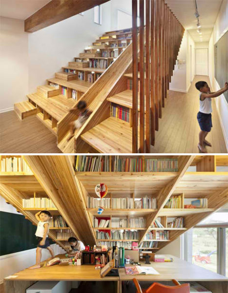 Enjoyable Wooden Steps. Home Library with a Wooden Slide Private Playgrounds  13 Amazingly Fun Houses Urbanist