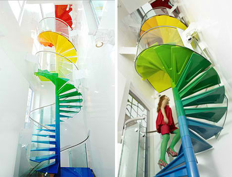 Colorful Home With Spiral Stairs, Slides And Trap Doors