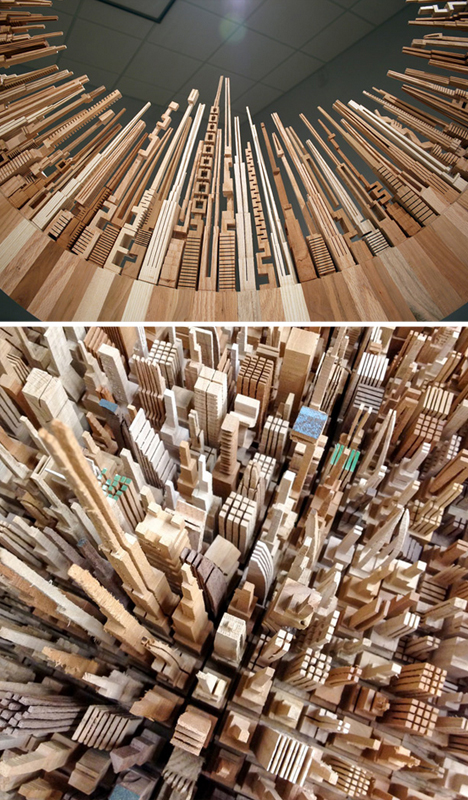 offcut wood urban sculptures