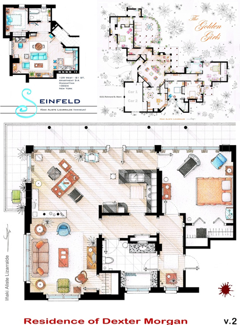 as seen on tv: floor plans from famous television series | urbanist