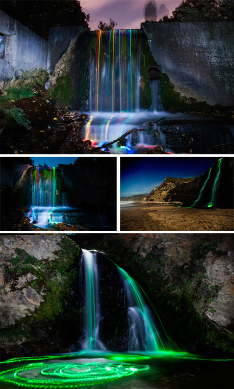 time lapse night waterfalls