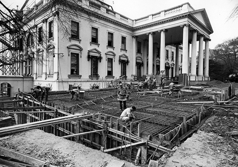 Revealing Historical Photos Show Us White House Gutted on late modern interior design