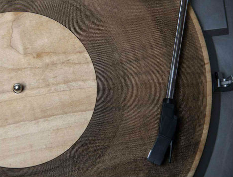 Laser-Cut Record: Music Etched Onto Slices of Wood