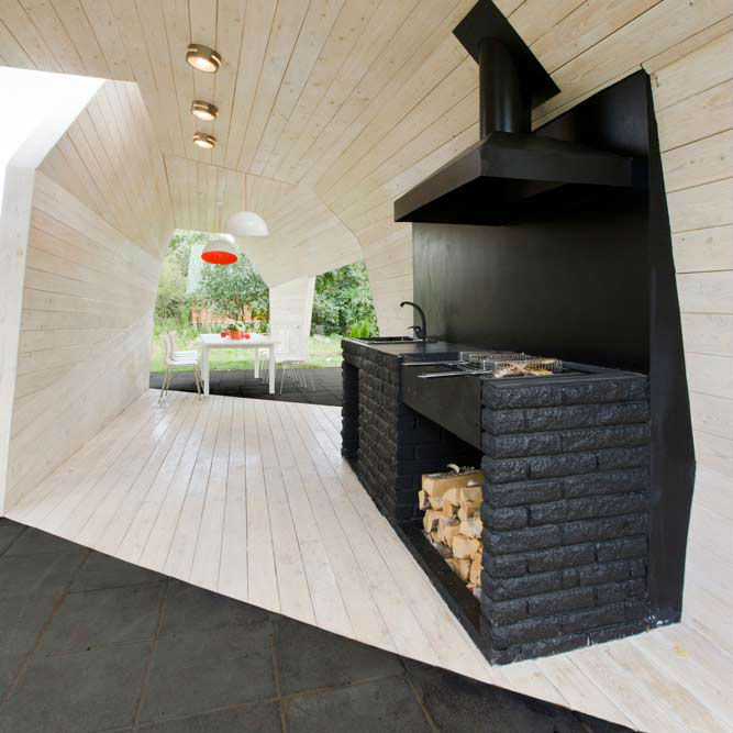 21st century cookout 16 modern grills outdoor kitchens for Barbecue de jardin fixe