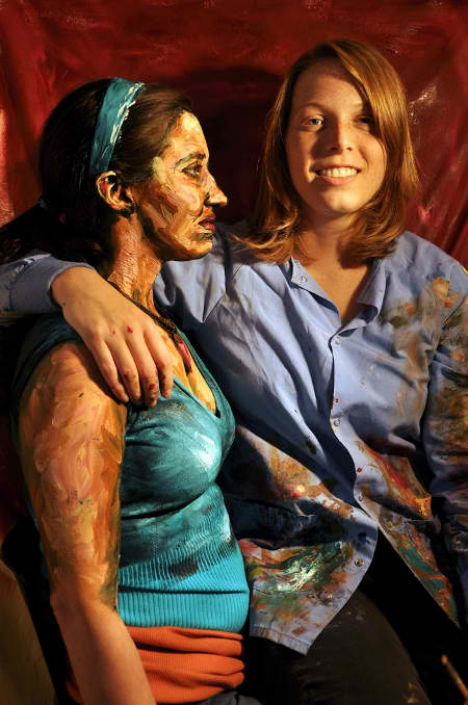 painted human canvas works paintings 2d