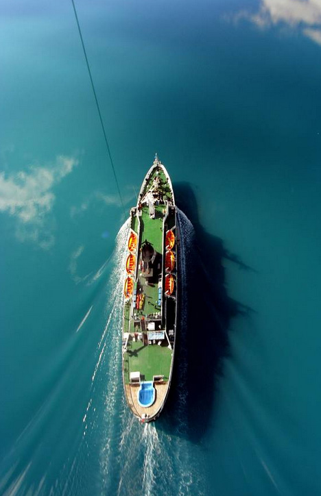 aerial from of boat