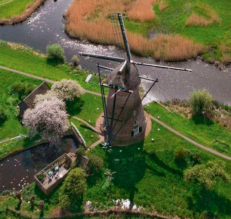 aerial windmill landscape photo