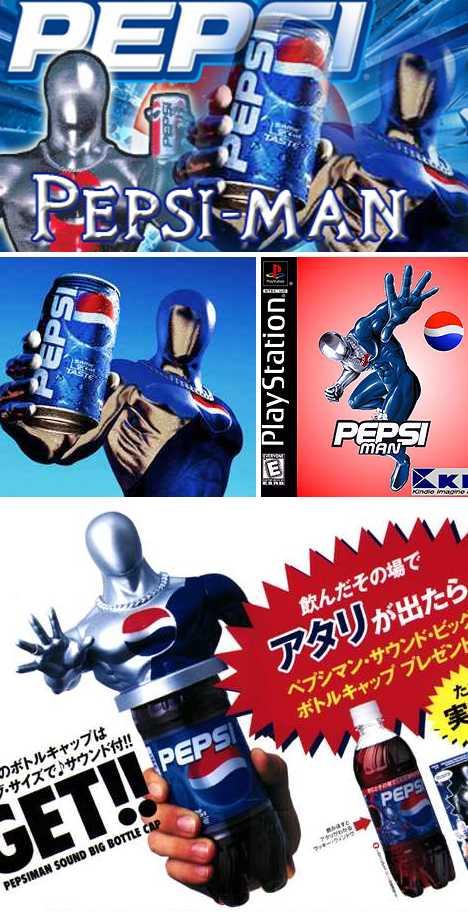 Pepsiman corporate superhero PlayStation videogame
