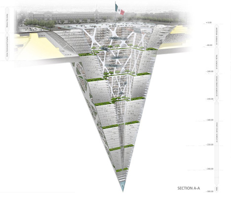 Earthscraper: Inverted Pyramid Spans 1000 Vertical Feet