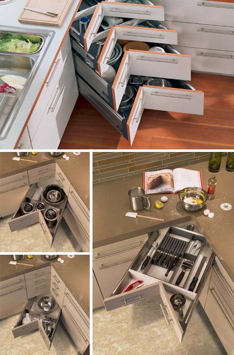 inside kitchen corner drawers