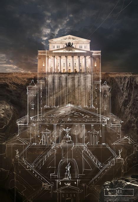 russian building underground sketch