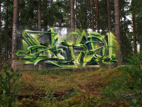 cellograff forest cellophane graffiti