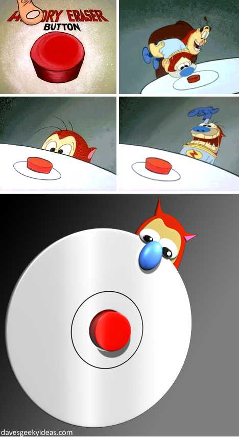 Ren & Stimpy Space Madness red button doorbell
