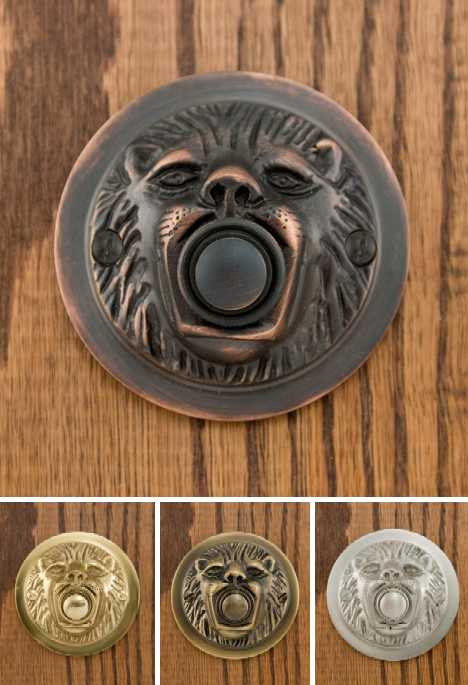 Signature Hardware lion's head brass doorbells