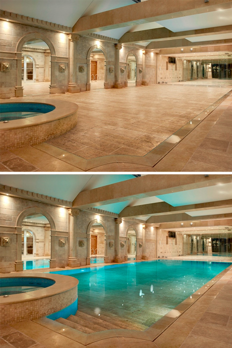 Walk on water hydro floors hide secret swimming pools - Inside swimming pool ...