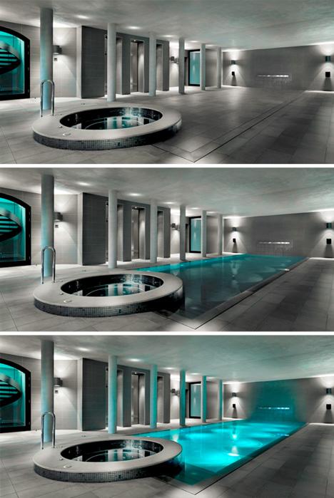 hidden movable floor tub