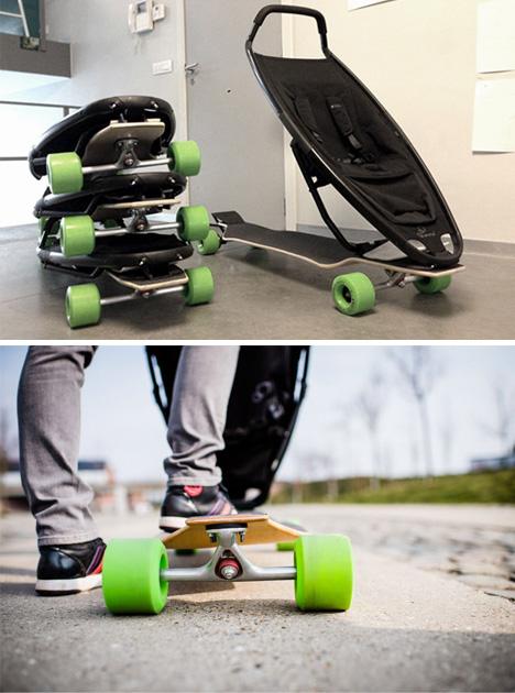 longboard stroller stacked prototypes