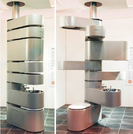 space rotating modular bathroom
