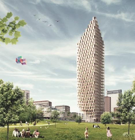 wood skyscraper tower design