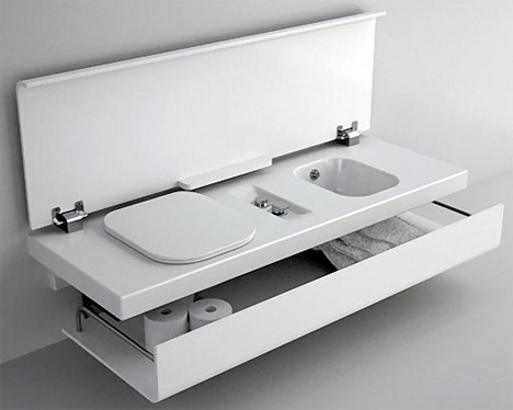 Compact Bathroom Modular Hides Fixtures