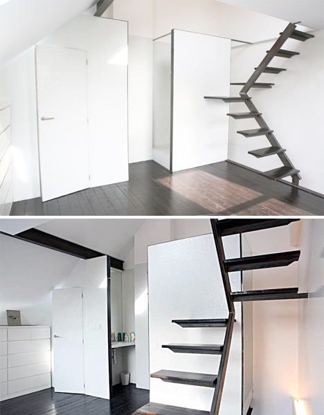 Steps to saving space 15 compact stair designs for lofts urbanist - Small space staircase image ...