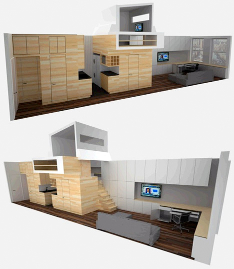 Steps to saving space 15 compact stair designs for lofts urbanist - Space saving ideas for studio apartments ...